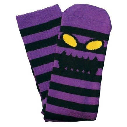 Skarpety Toy Machine -  Sect Monster Face Stripe Purple Crew